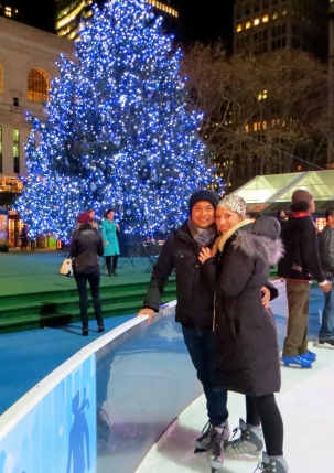 Ice Skating in Bryant Park with my Grinch